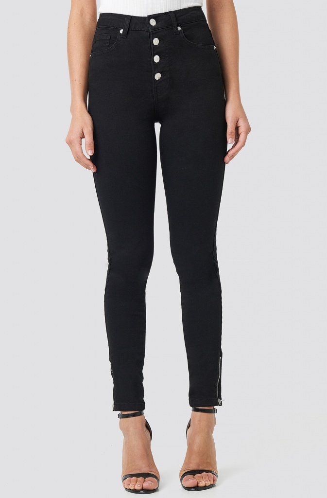 NAKD - Skinny High Waist Zipper Jeans