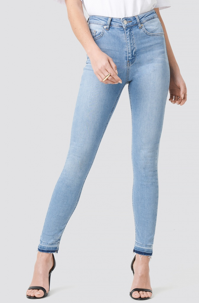NA-KD - Skinny High Waist Open Hem Light Blue