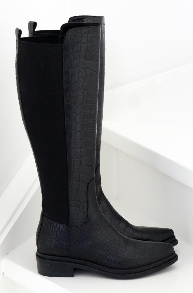Nude Of Scandinavia - Kate Boot Black Croco - Plain Vanilla Ab-1148