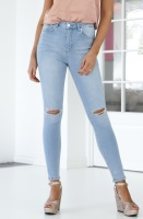 NA-KD - Skinny High Waist Destroyed Jeans