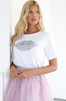 MOLLY BRACKEN - T-shirt Silver Glitter Mouth