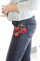 GRACE - Black/Grey jeans with Flower