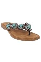 LAZAMANI - Round Turquise Stones Flip Flop