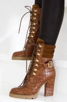 LESTROSA - Brown Boot with Gold Details