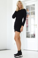 NA-KD - Twist Wrap Jersey Dress Black