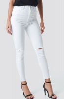 NA-KD - High Rise Knee Rip SuperSkinny White jeans