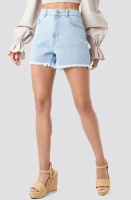 NA-KD - High Waist Raw Hem Denim Shorts
