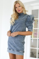 NAKD - Puff Sleeve Denim Mini Dress
