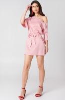 NA-KD - One Shoulder Tie Waist dress Pink