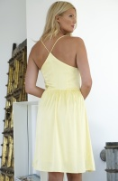 RUT & CIRCLE - Button Satin Dress Yellow