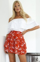 RUT & CIRCLE - Red Frill Skirt