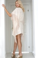 TWINSET - Jacquard Poncho with Fringes Beige