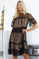 TWINSET - Tulle & Lace Dress Black/Nude