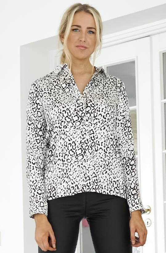ALIX THE LABEL - Graphic Animal Satin Blouse