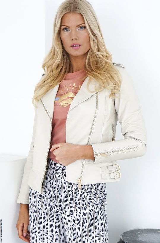ALIX THE LABEL - Off White Leather Jacket