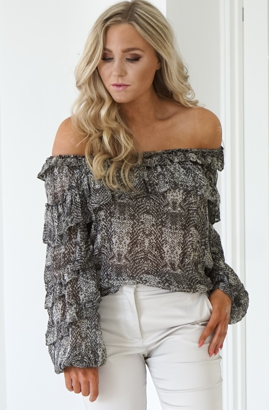 ALIX THE LABEL - Snake Chiffon Blouse