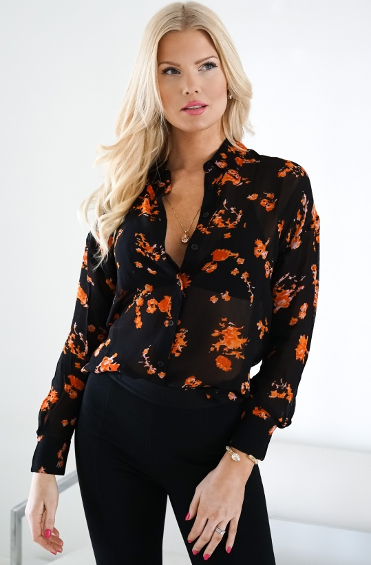 ALIX THE LABEL - Orange Flowers Chiffong Blouse