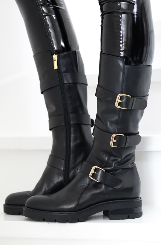 A PAIR - High Biker Black/Gold