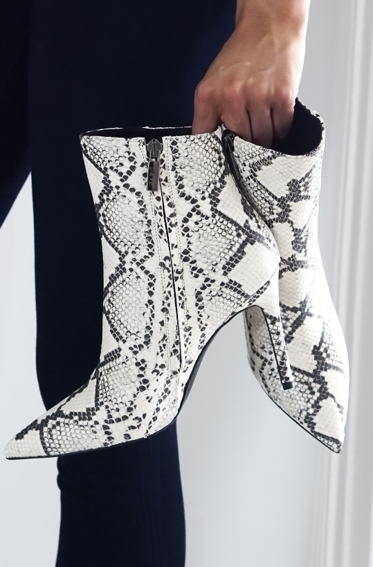 A PAIR - High Stiletto Bootie Snake