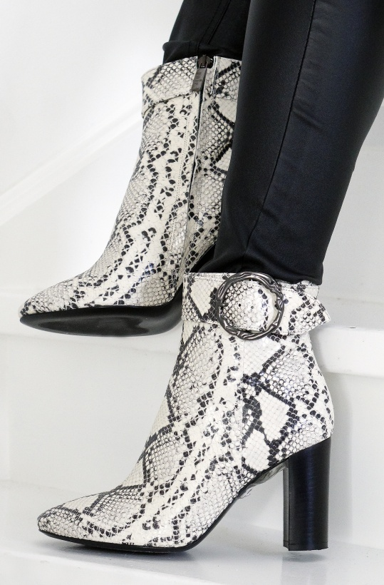 A PAIR - Buckle High Rounded Bootie