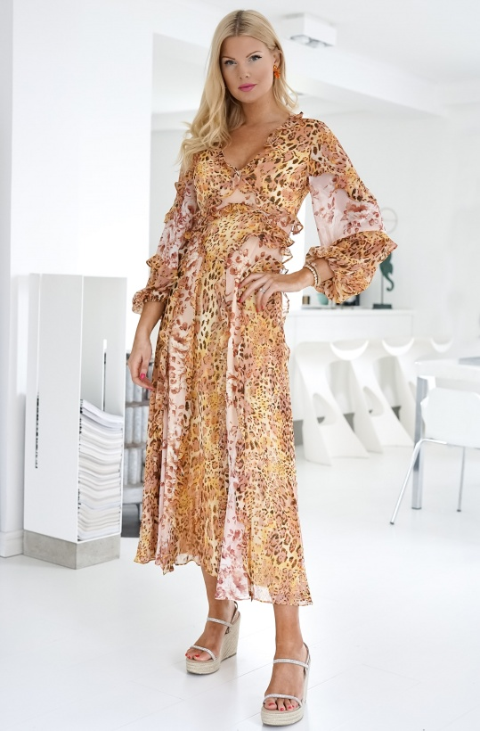 BARDOT - Mixed Print Dress Pinky Leo