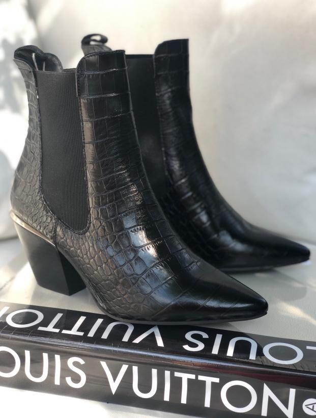 PEDRO MIRALLES - Svart Croco Boot med Silverinlägg