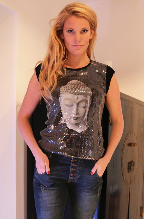 Buddha T-shirt Karma Paljetter