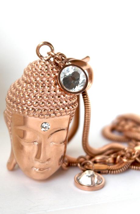 Buddha Head Necklace Rosé