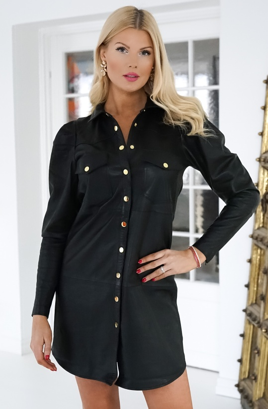 FINE COPENHAGEN - Diana Shirt Leather Dress