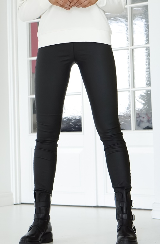 FREEQUENT - Shantal Skinny Leggings Black Coated