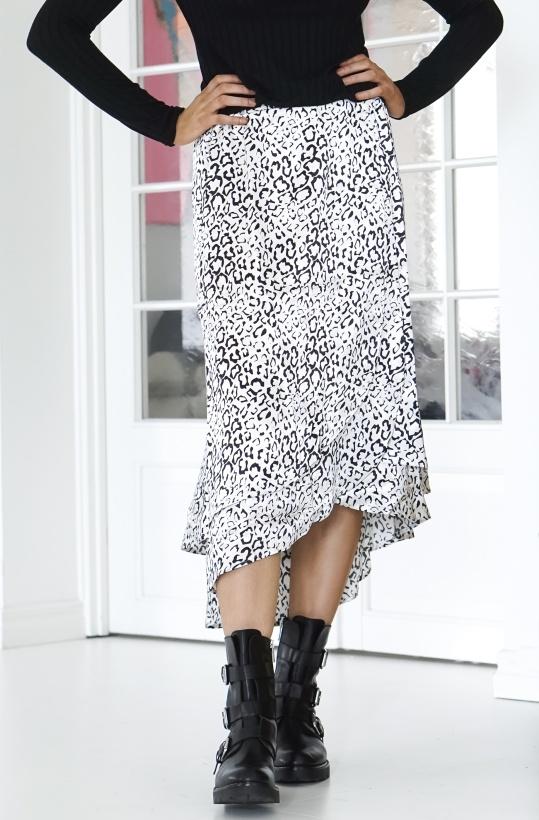 ALIX THE LABEL - Graphic Animal Satin Long Skirt