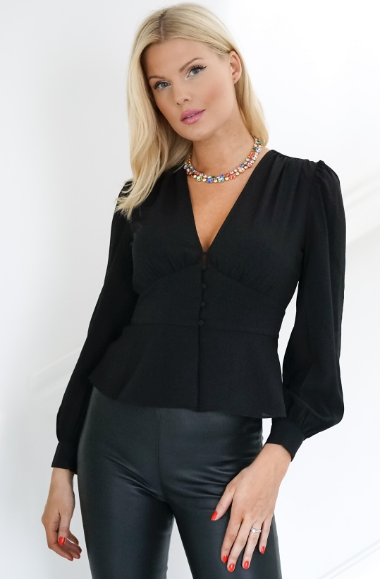 FRENCH CONNECTION - Blaine Crepe Puff Sleeve Blouse