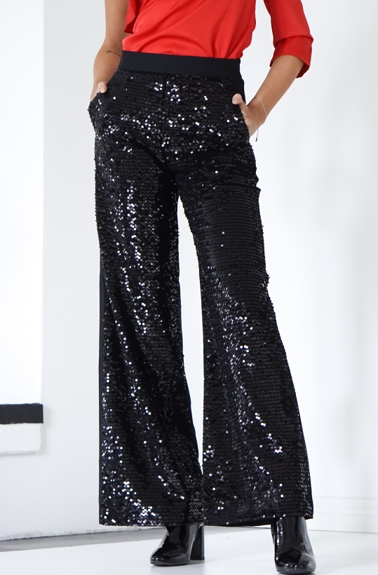 FRENCH CONNECTION - Black Sequin Pant