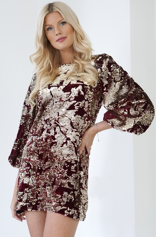FRENCH CONNECTION - Deep Framboise Gold Dress