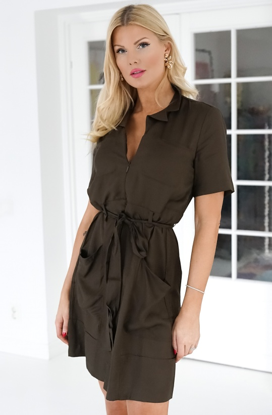 FRENCH CONNECTION - Enzo Drape Belted Dress