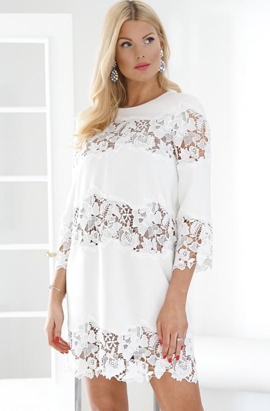 FRENCH CONNECTION - Fenyala Lace Mix Panel Dress