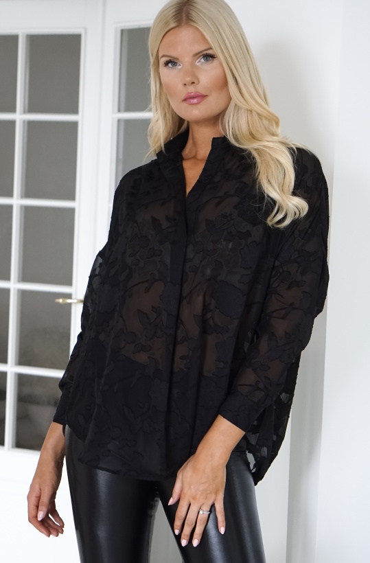 FRENCH CONNECTION - Svart Lace Chiffong Blus