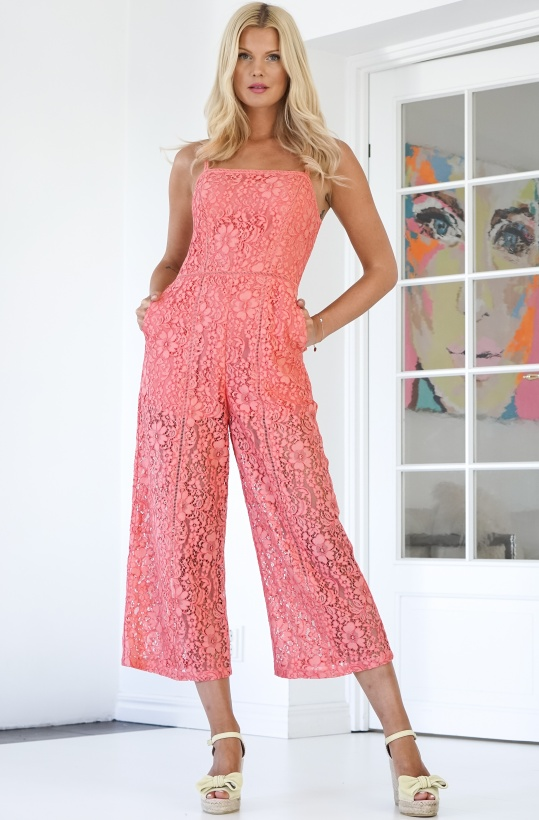 FRENCH CONNECTION - Pink Lace Jumpsuit