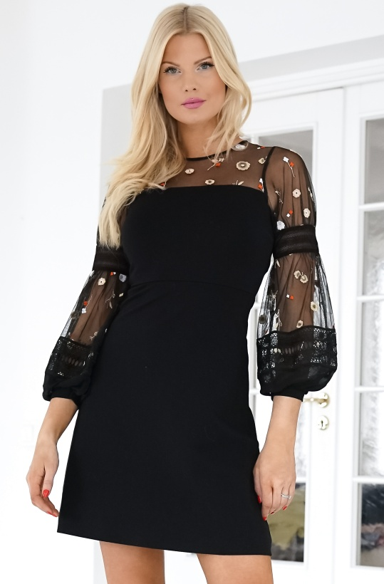 FRENCH CONNECTION - Paulette Embrodery Dress Puff Sleeve