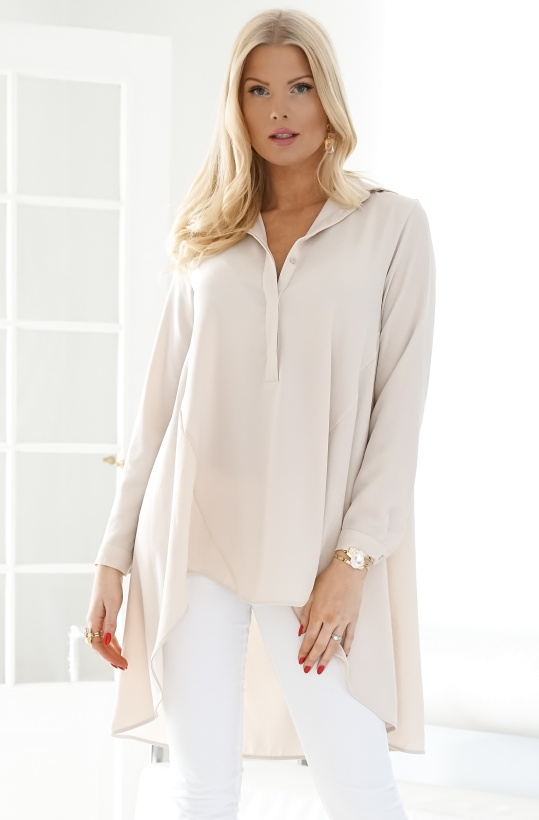 IMPERIAL - Oversized Shirt with Asymmetrical Hem