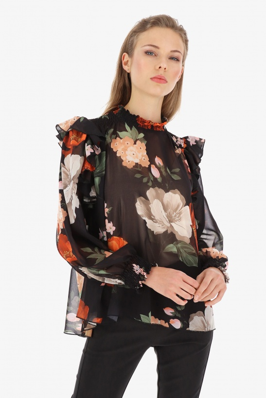 IMPERIAL -Print Blouse with Ruche Flower