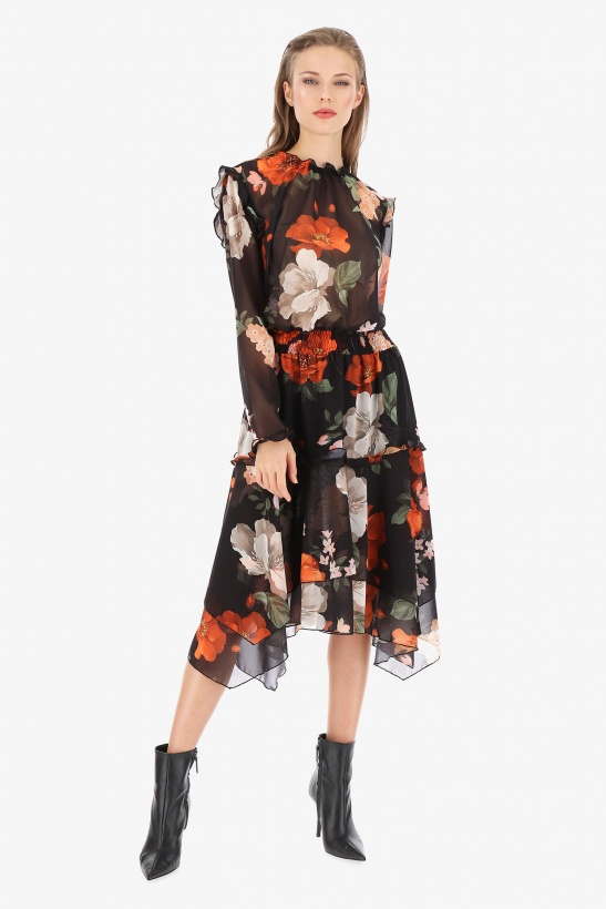 IMPERIAL - Ultralightweight Printed Flower Dress