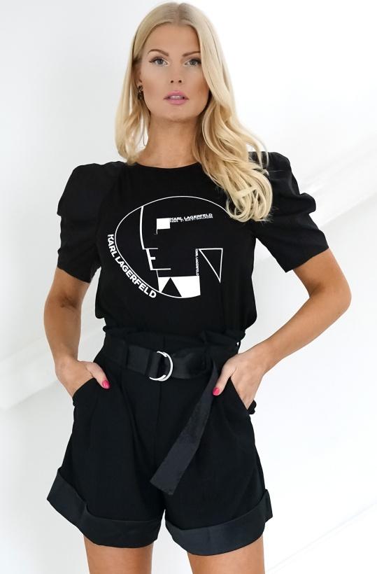 KARL LAGERFELD - Puff Sleeve Bauhaus Logo Top