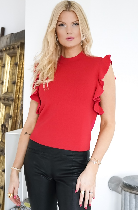 KARL LAGERFELD - Colour Block Ruffle Knit Cropped Top