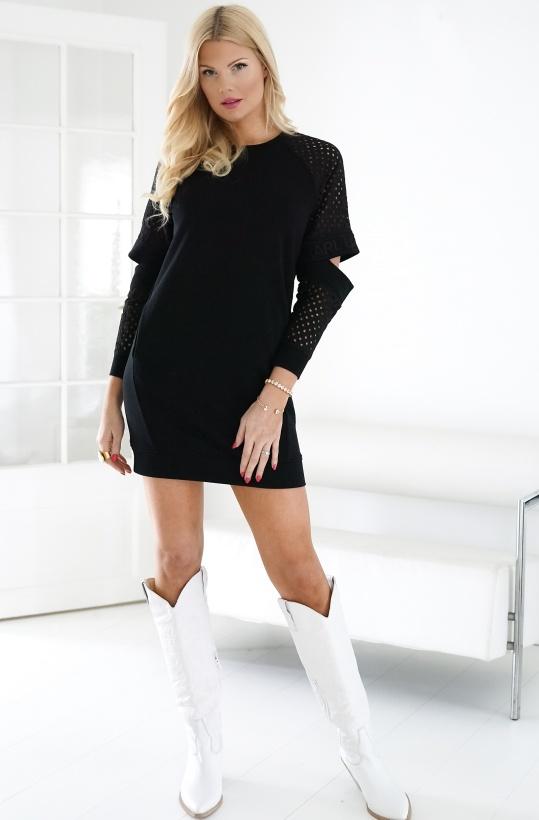 KARL LAGERFELD - Cut Out Lace Sleeve Sweatshirt Dress