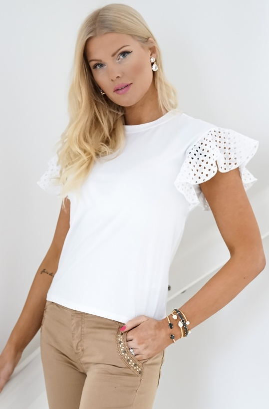 KARL LAGERFELD - Lace Sleeve T-shirt