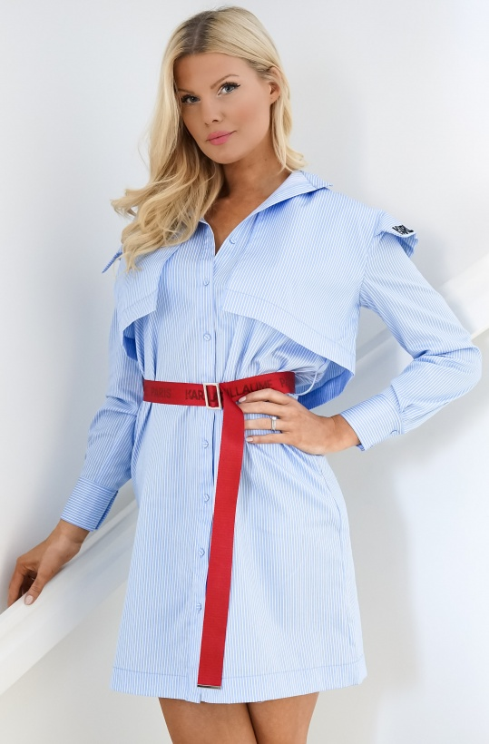 KARL LAGERFELD - Stripe Poplin Shirt Dress
