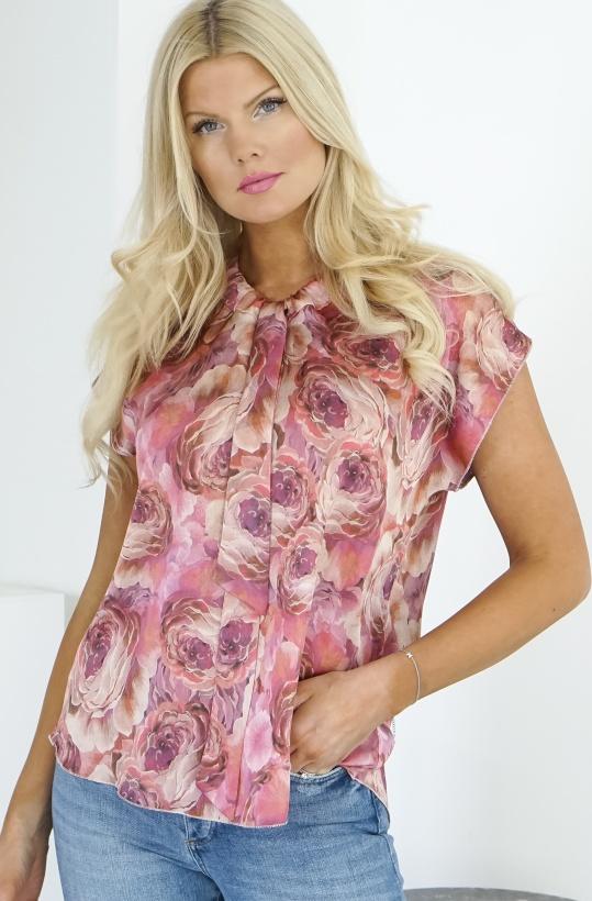 KARMAMIA - Pink Rose Tie Blouse