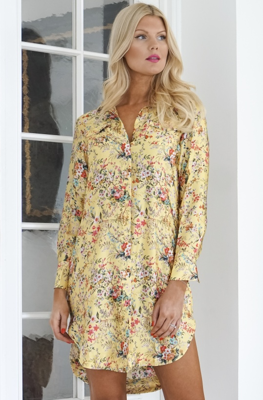 KARMAMIA - Yellow Bloom Shirt Dress