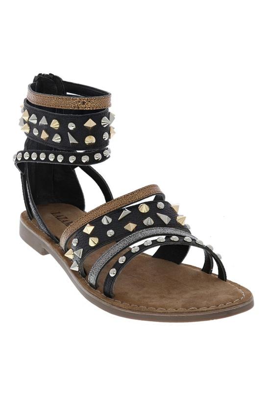 LAZAMANI - Sandals HIgh Straps Strass Black